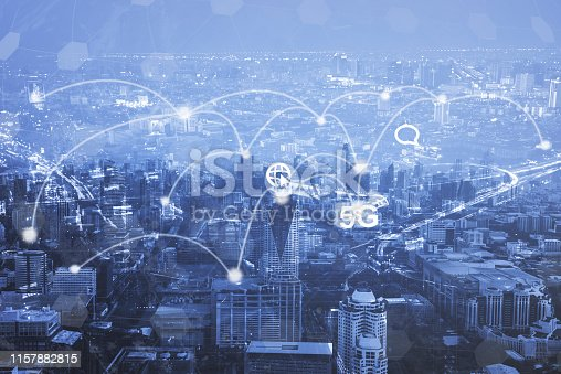 istock Digital marketing. Business using modern interface payments online shopping communication and icon customer network connection on virtual screen. Business innovation technology 5G concept. 1157882815