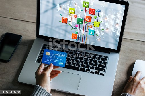 istock Digital marketing, business woman using laptop computer with credit card, online payment and shopping, banking networking  and icon customer network connection on virtual screen. Business technology concept 1150203788