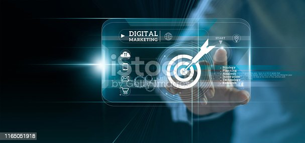 istock Digital marketing. Businessman touching start button on modern interface to business target and icon customer network connection on virtual screen. Business innovation technology concept. 1165051918