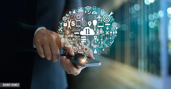 938918098 istock photo Digital marketing. Businessman using mobile with icon network connection. Business innovation technology concept 938916962