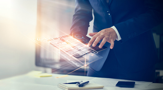 istock Digital marketing. Businessman using modern interface payments online shopping and icon customer network connection on virtual screen. Business innovation technology concept 938918098
