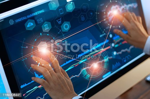 istock Digital marketing. Businessman using touching and drag global structure networking on modern virtual interface payments online shopping. Icon customer network connection. Plan and strategy. Business innovation technology concept. 1150208441