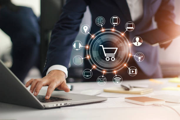 digital marketing. businessman working with laptop computer, tablet and smart phone. modern interface payments online shopping and icon customer network connection on virtual screen. business innovation technology concept. - commercio elettronico foto e immagini stock