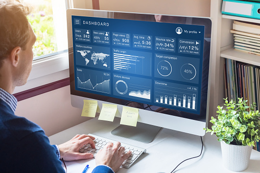 Digital Marketing Campaign Data Analytics Report With Metrics And Key Performance Indicators On Information Dashboard For Advertisement Strategy On Internet Business Person In Office Stock Photo - Download Image Now