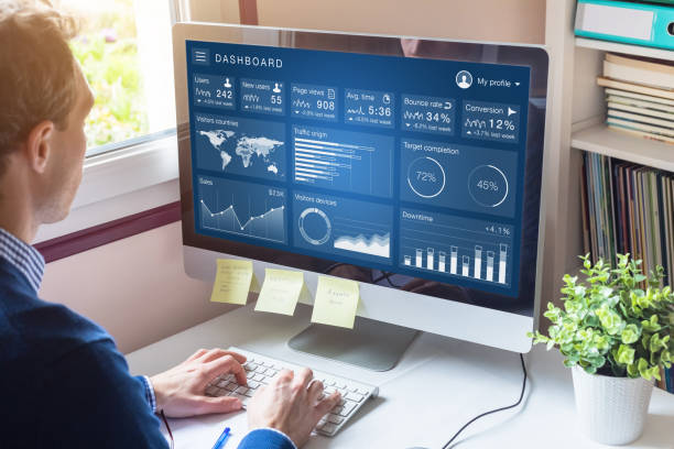 Digital marketing campaign data analytics report with metrics and key performance indicators (KPI) on information dashboard for advertisement strategy on internet, business person in office stock photo