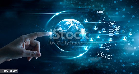 istock Digital marketing concept, Business technology, Mobile payments, Banking network, Online shopping, Hand touching global network and data customer connection on dark blue background. 1150198297