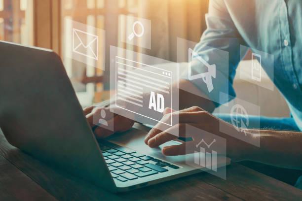 digital marketing concept, online advertisement stock photo