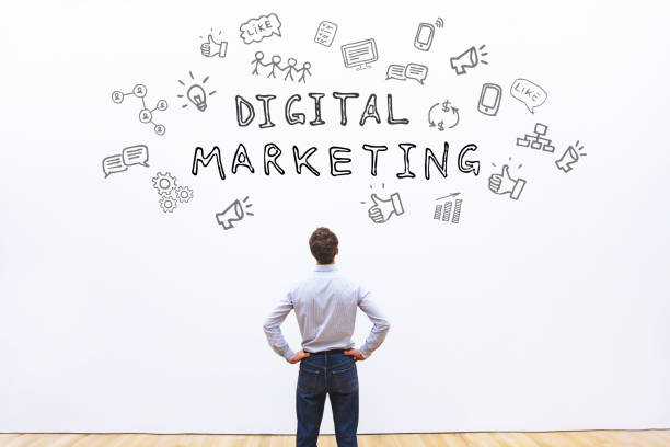 digital marketing concept digital marketing concept with icons on white wall sem stock pictures, royalty-free photos & images