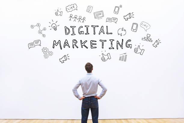 digital marketing concept - micrografia elettronica a scansione foto e immagini stock