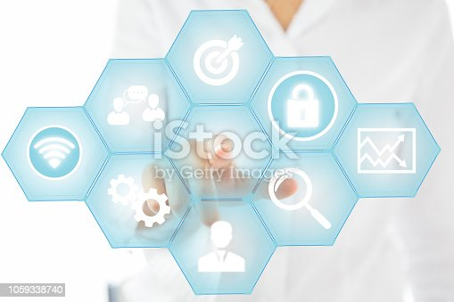 497982910 istock photo Digital marketing consultant doing business on internet and social networks 1059338740