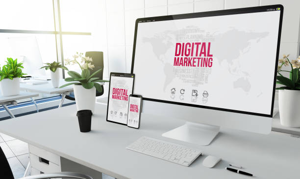digital marketing devices mockup - digital marketing stock pictures, royalty-free photos & images