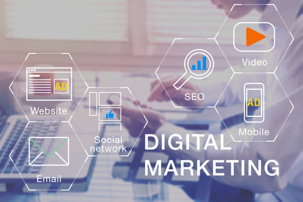 Digital Marketingmanager für soziale Medien Netzwerk, Internet-Website, mobile und e-Mail-Werbung Kommunikationskampagne mit SEO und pay-per-Klick return-on-Investment-Strategie – Foto