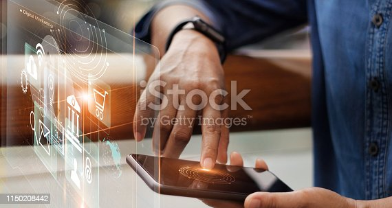 497982910 istock photo Digital marketing media and mobile payments. Businessman working with mobile smartphone and icon network connection on virtual screen. Online banking. Business and modern technology. 1150208442