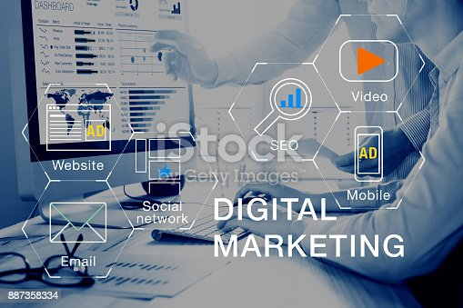 istock Digital marketing media (website, email, video), team analyzing PPC ROI 887358334