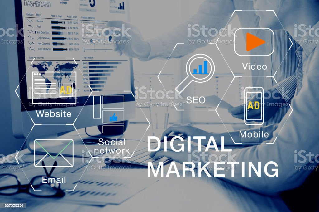 Digital marketing media (website, email, video), team analyzing PPC ROI stock photo