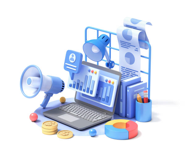 Digital marketing Digital marketing and statistics. 3d illustration. facebook ads stock pictures, royalty-free photos & images