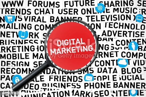 Magnifying glass in the Digital Marketing