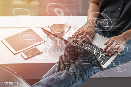 istock Digital marketing SEO search engine optimization via omnichannel communication network icon on computer software application development and online mobile smart device app technology 1132382118