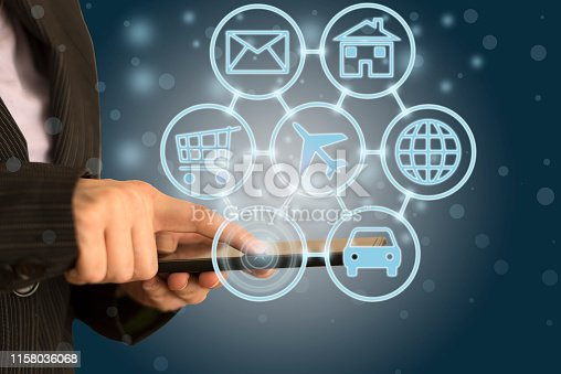 846708102 istock photo Digital marketing SEO search engine optimization via omnichannel communication network icon on computer software application development and online mobile smart device app technology 1158036068
