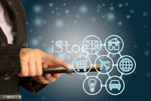 846708102 istock photo Digital marketing SEO search engine optimization via omnichannel communication network icon on computer software application development and online mobile smart device app technology 1158037178
