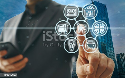 846708102 istock photo Digital marketing SEO search engine optimization via omnichannel communication network icon on computer software application development and online mobile smart device app technology 1166940693