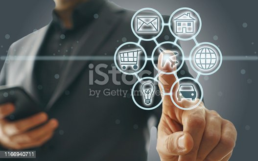 846708102 istock photo Digital marketing SEO search engine optimization via omnichannel communication network icon on computer software application development and online mobile smart device app technology 1166940711