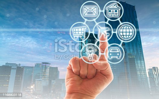 846708102 istock photo Digital marketing SEO search engine optimization via omnichannel communication network icon on computer software application development and online mobile smart device app technology 1168803118