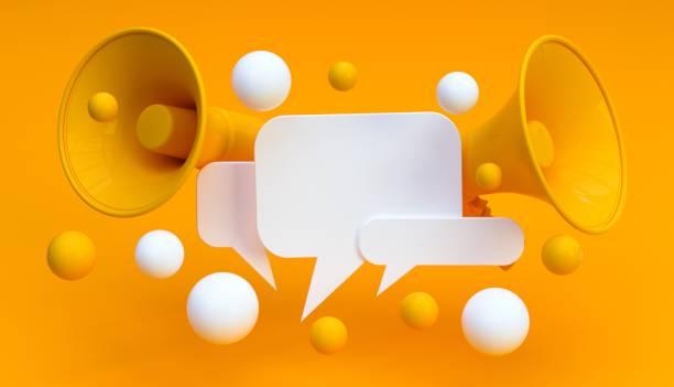 цифровой маркетинг социальные медиа мегафон концепция - сообщение стоковые фото и изображения