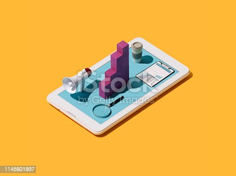 Digital marketing solutions and strategies: megaphone, growing financial chart and magnifier on a smartphone digital display