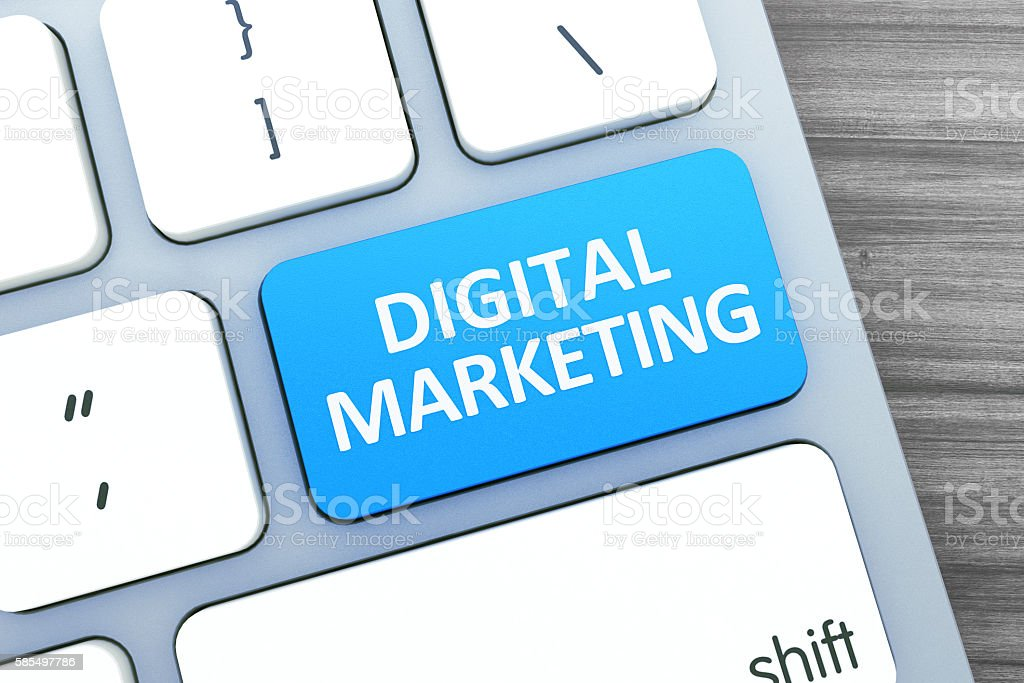 Digital Marketing Text on a Button on Modern Computer Keyboard. stock photo