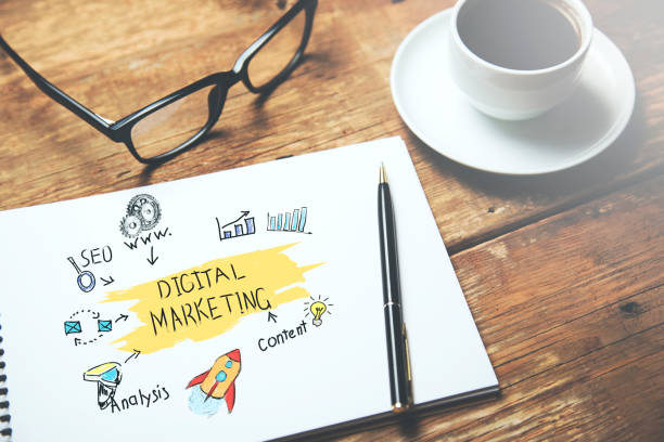 digital marketing text on page stock photo