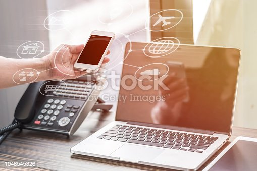 istock Digital marketing via multi-channel communication network icon on mobile smartphone application technology and VOIP voice over internet protocol telephone service concept 1048545326