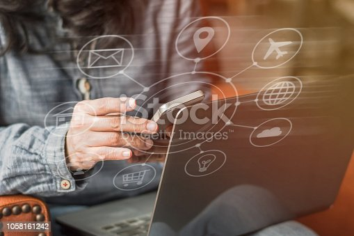 846708102 istock photo Digital marketing via multi-channel communication network icon on mobile smartphone application technology 1058161242
