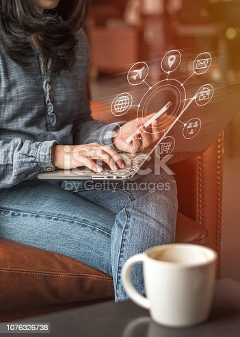 istock Digital marketing via multichannel communication network icon on mobile smartphone application technology 1076326738
