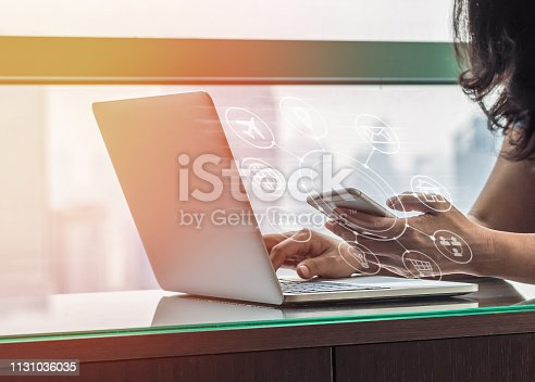 846708102 istock photo Digital marketing via multi-channel communication network icon on mobile smartphone application technology 1131036035