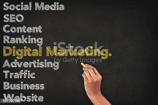 istock Digital Marketing Word Cloud On Blackboard 627200138