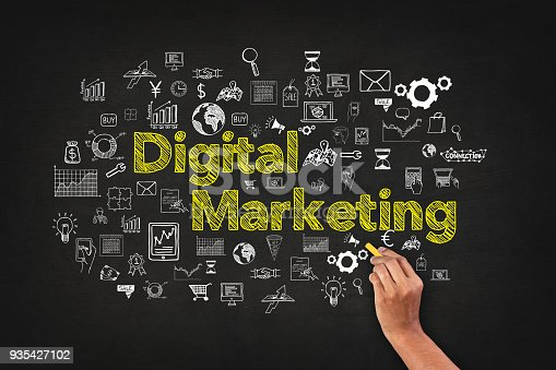 istock Digital Marketing Word On Blackboard With Supportive Icons 935427102