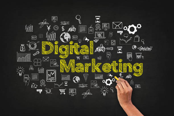 digital marketing word on blackboard with supportive icons - digital marketing stock photos and pictures