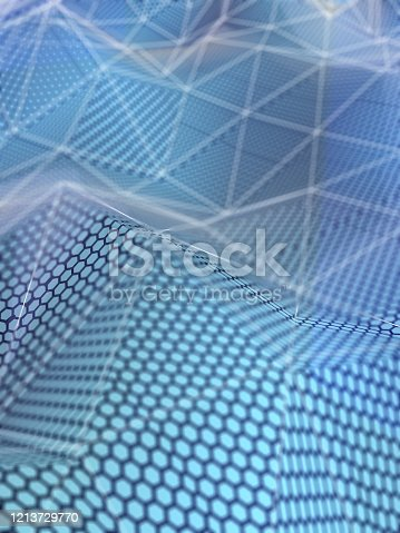 1146014337 istock photo Digital mash Landscape with hexagon texture 1213729770
