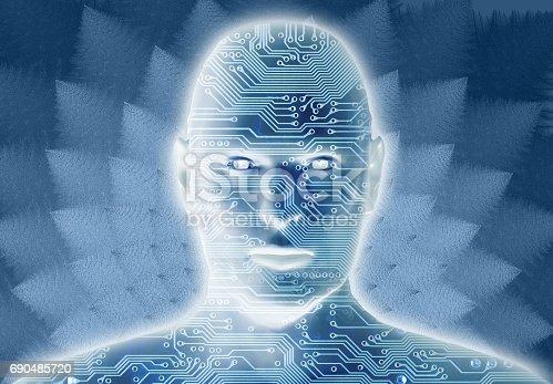 istock Digital mind head running artificial intelligence 690485720