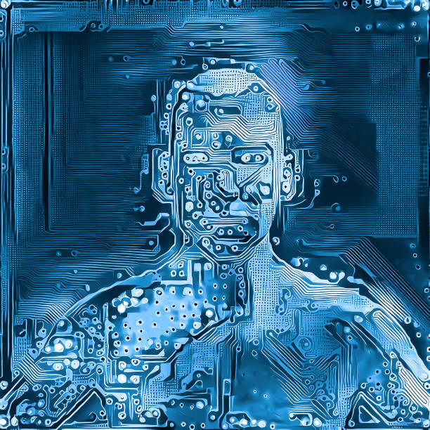 Digital mind with deep learning artificial intelligence neural network stock photo