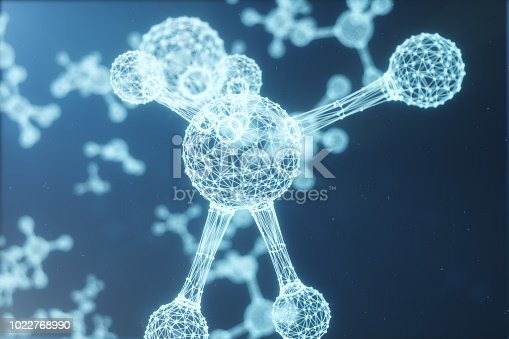 692869882 istock photo Digital molecules, atoms bacground. Low polygoanl grid structure, connection lines and dots. Molecular structure of connection lines and dots. 3D illustration 1022768990