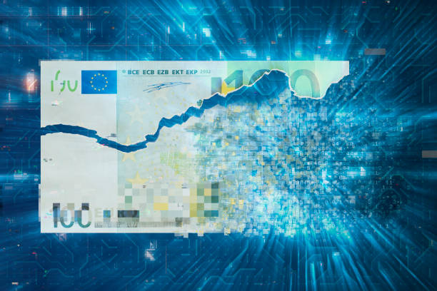 Digital Money Transfer one hundred euro banknote stock photo