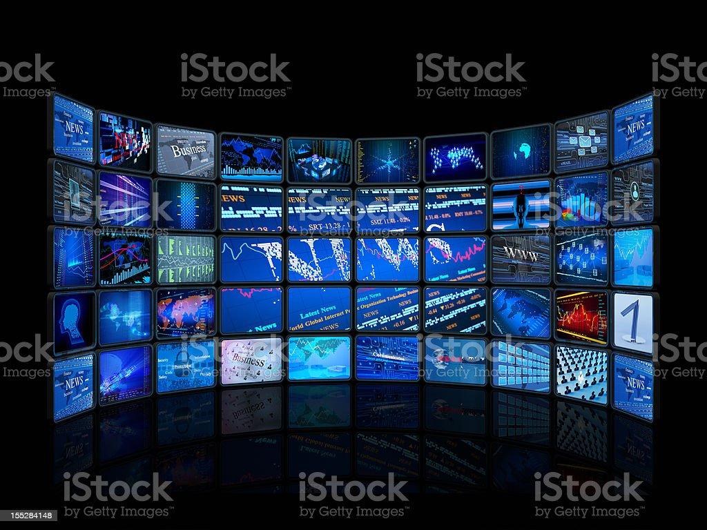 Digital monitors in a television studio stock photo