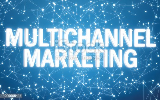 istock Digital multichannel marketing text on blue network background 1029968414