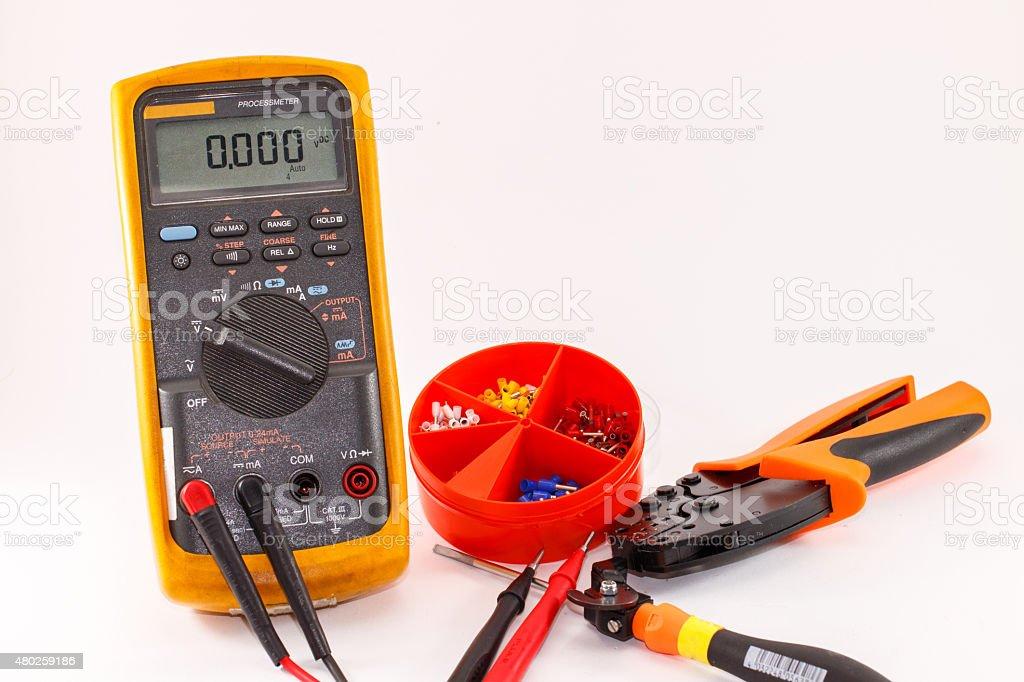 Digital multimeter and tool stock photo