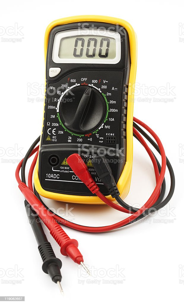 A digital multimeter on a white background stock photo