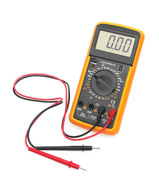 Digital multimeter Digital multimeter isolated on white background high voltage sign stock pictures, royalty-free photos & images
