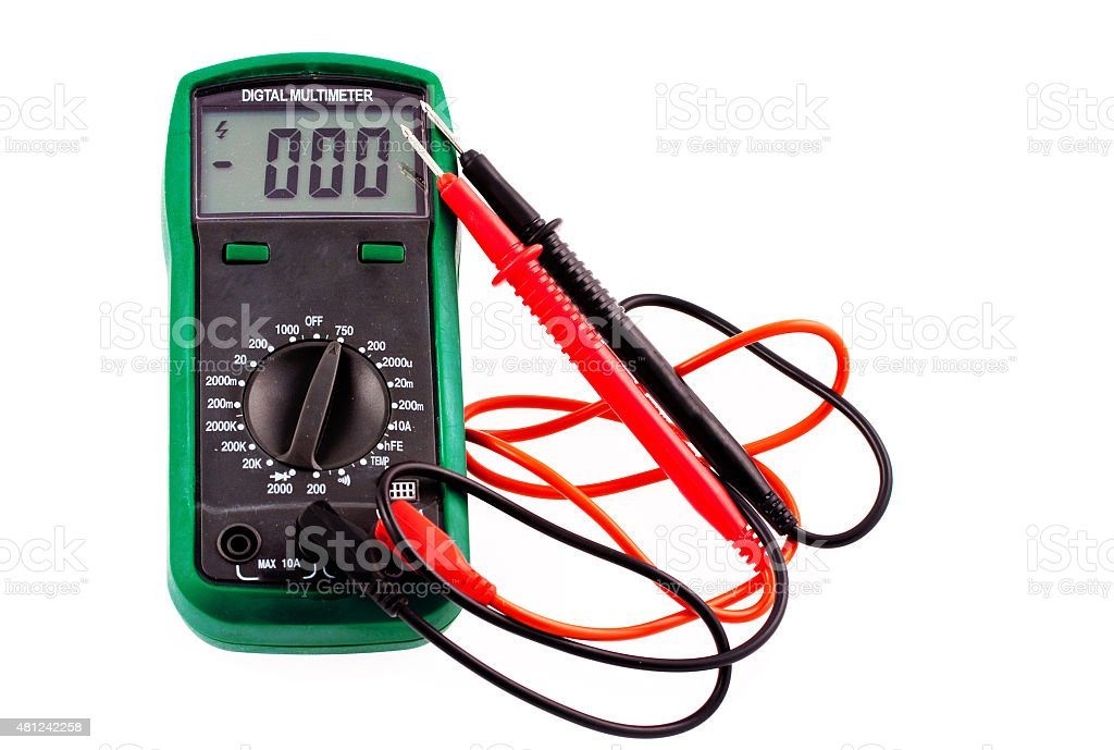Digital multimeter with wires and plugs stock photo