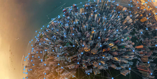 Digital network connection lines of Hong Kong Downtown. Financial district and business centers in smart urban city in technology concept. Skyscraper and high-rise buildings. Aerial view at sunset stock photo